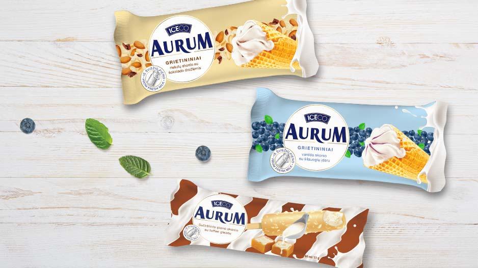 Iceco Aurum ledų pakuočių dizainas